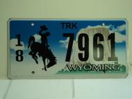 WYOMING Bucking Bronco Devils Tower Truck License Plate 18 7961