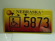 NEBRASKA Handicapped License Plate 5873