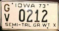 1973 Iowa GV Semi-Trailer License Plate
