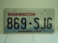 WASHINGTON Evergreen State License Plate 869 SJG