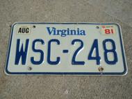 1981 VIRGINIA License Plate WSC 248