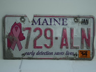 2014 MAINE Pink Ribbon Cancer Early Detection License Plate 729 ALN 1