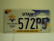 UTAH Salt Lake City Winter Olympics 2002 License Plate 572P5 1