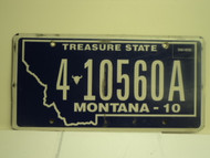 2010 MONTANA Treasure State License Plate 4 10560A