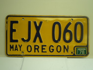 1978 OREGON License Plate EJX 060