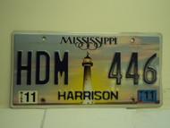 2011 MISSISSIPPI Lighthouse License Plate HDM 446