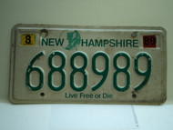 1989 NEW HAMPHIRE Live free or Die License Plate 688989