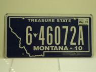 2010 2013 MONTANA Treasure State License Plate 6 46072A