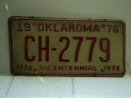 1976 OKLAHOMA Bicentennial License Plate CH 2779