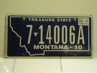 2010 2011 MONTANA Treasure State License Plate 7 14006A