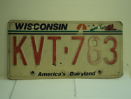 WISCONSIN America's Dairyland License Plate KVT 783