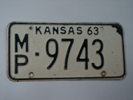 1963 KANSAS License Plate MP 9743