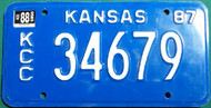 1987 1988 KCC Kansas License Plate 34679