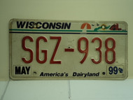 1999 WISCONSIN America's Dairyland License Plate SGZ 938