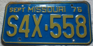 1976 Sept Missouri S4X-558 License Plate DMV Clear