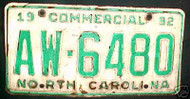 1992 North Carolina AW-6480 Comm'l License Plate