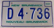 1987 Mar New Brunswick License Plate D4 736 Dealer