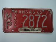 1965 KANSAS 8M Truck License Plate MP 2872