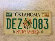 2000 Mar Oklahoma Native America License Plate DEZ 083