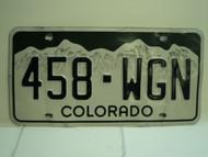COLORADO License Plate 458 WGN