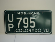 1970 COLORADO Mobile Home License Plate UP 795