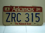 1998 ARKANSAS Natural State License Plate ZRC 315