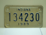 1989 INDIANA Motorcycle License Plate 134230