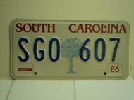 1986 SOUTH CAROLINA Palmetto License Plate SGO 607