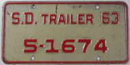 1963 SD South Dakota Trailer 5-1674 License Plate