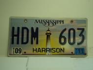 2011 MISSISSIPPI Lighthouse License Plate HDM 603