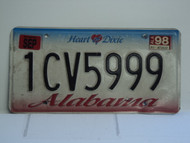 1998 ALABAMA Heart of Dixie License Plate 1CV5999