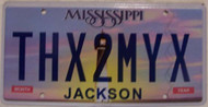 Mississippi Vanity License Plate THX2MYX