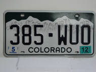 2012 COLORADO License Plate 385 WUO