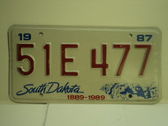 1987 SOUTH DAKOTA Centennial 1889 1989 License Plate 51E 477