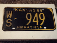 1968 KANSAS Midway USA License Plate 949
