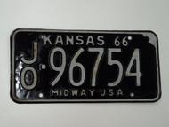 1966 KANSAS Midway USA License Plate JO 96754