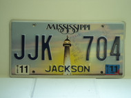 2011 MISSISSIPPI Lighthouse License Plate JJK 704
