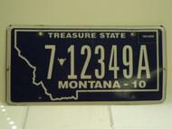 2010 MONTANA Treasure State License Plate 7 12349A