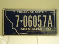 2010 MONTANA Treasure State License Plate 7 06057A