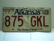 2006 ARKANSAS Natural State License Plate 875 GKL