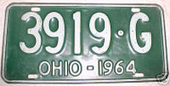 1964 Ohio 3919 G Green License Plate