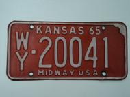 1965 KANSAS Midway USA License Plate WY 20041