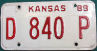 1989 Kansas Dealer License Plate D 840 P