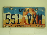 UTAH Centennial 1896 License Plate 551 VXM