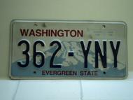 Washington Evergreen State License Plate 362 YNY