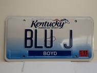 2013 KENTUCKY VANITY License Plate BLU J