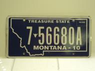 2010 MONTANA Treasure State License Plate 7 56680A