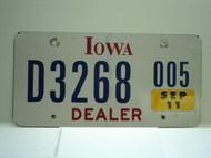 2007 IOWA Dealer License Plate  D877 005