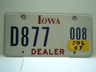 2007 IOWA Dealer License Plate  D877 008