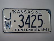 1960 KANSAS 1961 Centennial License Plate JW 3425